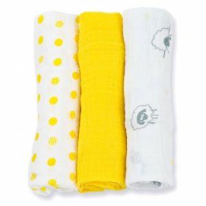 Lulujo medium swaddle - Sunshine yellow 3-pack-0