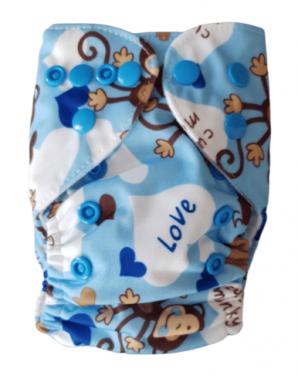 Wasbare luier New Born Bababoe  / Pocket luier Fleece - met inlegger/ Aapje blauw