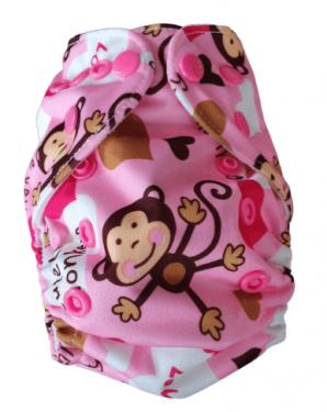Wasbare luier New Born Bababoe  / Pocket luier Fleece - met inlegger/ Aapje roze