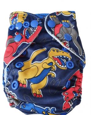 Wasbare luier New born Bababoe  / Pocket luier Fleece - met inlegger/ Dino blauw