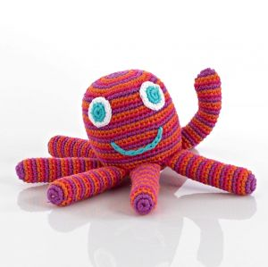 Pebble rammelaar - Octopus roze-0